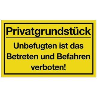 NW Schild Privatgrundstück 400 x 250 mm Kunststoff gelb/schwarz Hinweiszeichen