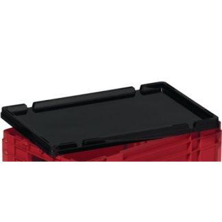 6x LA-KA-PE Stülpdeckel L 600 x B400 mm schwarz PP für Drehstapelbehälter