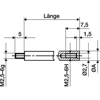 Käfer Verlängerungsstück Länge 100mm Messbolzen-D. 4mm für Messuhren 62501