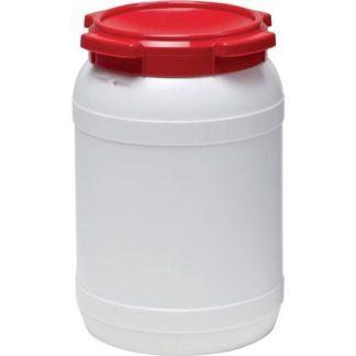 Weithalsfass weiß Deckel rot 20 Liter, D. 274 x H. 418mm Einfüllöffnung-D. 204mm