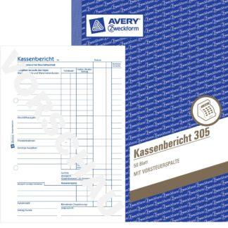 AVERY Zweckform Kassenbericht / 305, weiß, DIN A5 hoch, Inhalt 50 Blatt
