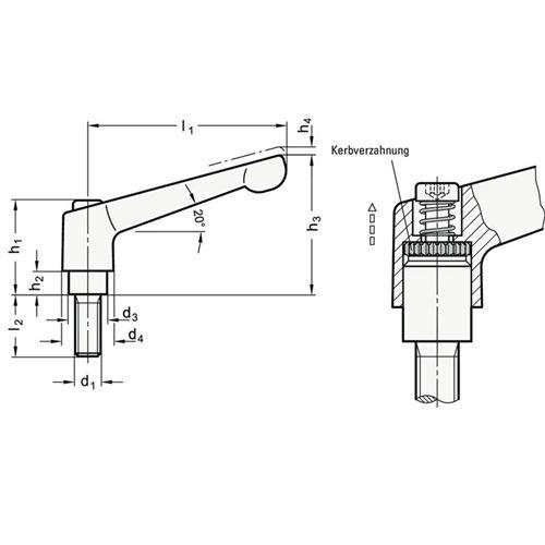 Ganter Verstellbarer Klemmhebel GN 300 d1 M 6mm l1 45mm l2 16mm AG